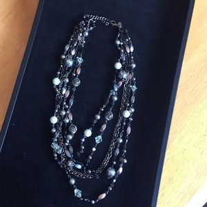 Lia sophia Multi-strand beaded Hematite Necklace